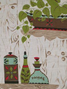 Vintage Kitchen Curtains   retro kitchen curtain fabric