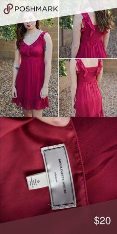 Anthropologie magenta chiffon ruffle dress 0 pink Adorable Moulinette Soeurs pink chiffon dress from Anthropologie size 0. Moulinette Soeurs Dresses Mini