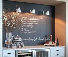 Great placement idea for this chalkboard wall, hutch, bureau, dining room