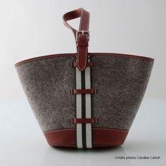 """hermès sac """"new picotin"""" en feutrine grise et veau Barénia"""