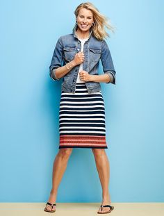 Embroidered Stripe Skirt - Talbots - SB May 2016