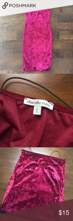 Velvet BodyCon Dress in Wine EUC. Crushed velvet in burgundy/wine. Thin straps. Bodycon style. Length hits right below knees. Juniors size L. Charlotte Russe Dresses