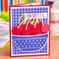 card fruit berry cherry cherries berries bowl sweet greetings - summer - The Stamps of Life