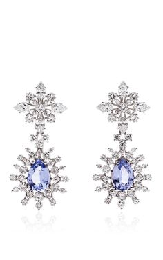 18k White Gold Patrician Wreath Drop Earrings by PAUL MORELLI with lavender spinels and white diamonds (=)