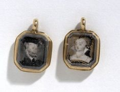 Gold-mounted miniature portrait earrings, English, c. early 17th C. The Elizabethan-era miniature portraits are of Sir Alexander Fraser of Philorth (who died in 1623) and his wife Margaret Ogilvie.