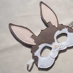 Felt Bunny Mask in TOFFEE / Heirloom Quality Wool by PLAYPARADE, $24.00 super cute.