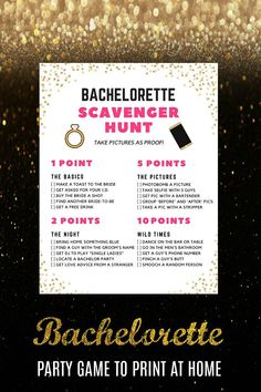 Bachelorette Scavenger Hunt Game Bachelorette Party Game