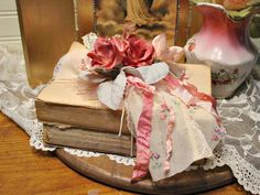 Vintage Book Bundle - Pink Roses - Altered Art Assemblage - Shabby and Chic Home Decor - Romantic Wedding Decor by EdenCoveTreasures on Etsy