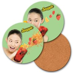 Lenticular coaster with custom design, smiling Snapple girl holding a drink, flip from Lantor, Ltd. Lenticular Card Printing: With its 3D Lenticular effects, our round COS40x40-Custom Coaster is the perfect promotional product. Adding one of our Lenticular effects such as Flip, Morphing, 3D to your custom images provides dimension to your graphics. See more at: http://www.lenticularpromo.com/3D-Lenticular-Cork-Coaster-p/cos40-custom.htm#sthash.TF0bLUPa.dpuf