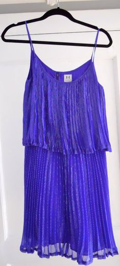 Coachella Style | Electric blue pleated dress by Halston