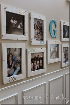 DIY Gallery Wall With Old Family Pictures and dates - Home Projects We Love Family Pictures On Wall, Family Picture Displays, Family Picture Walls, Diy Picture Frames On The Wall, Family Wall Decor, Photo Displays, Family Room, Home Projects, Craft Projects