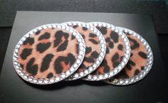 ANIMAL PRINT & BLING Coasters (cheetah) - Set of 4 w/ clear rhinestones. $16.00, via Etsy. For Elizabeth