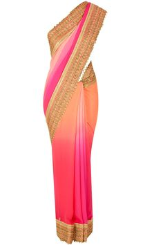 Peach georgette shaded sari available only at Pernia's Pop-Up Shop.