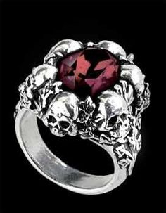 large deep burgundy faceted swarovski crystal mounted in a circle of ivy grown skulls this skull ring is also available in sizes lnqt the shadow of - Skull Wedding Rings