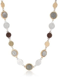 NINE WEST VINTAGE AMERICA Coin Cantina TriTone Collar Necklace 18 *** Continue to the product at the image link. (This is an affiliate link) #Necklaces