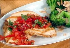 Tuscan Chicken with Tomato-Basil Relish and Toasted Almond Broccoli, low carb