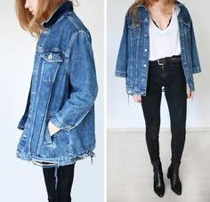 casual womens fashion that looks trendy Oversized Denim Jacket Outfit, Denim Oversize, Basic Outfits, Casual Outfits, Cute Outfits, Look Fashion, Autumn Fashion, Fashion Outfits, Fashion Blogs