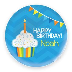Birthday Cupcake Personalized Melamine Plate for Boys :: For That Occasion