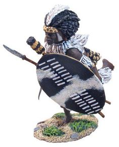 Zulu & British Wars 20052 Zulu Indluyengwe Regiment Charging with Assegai #1 - Made by Britain's Military Miniatures and Models. Factory made, hand assembled, painted and boxed in a padded decorative box. Excellent gift for the enthusiast.