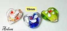 3 Lampwork Perlen Herz  rosa blau grün 15 mm von Schmuckmaterial