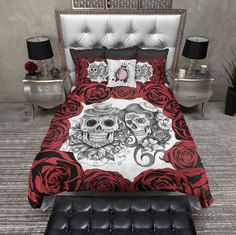 Red Rose Pencil Sketch Sugar Skull Duvet Bedding Sets