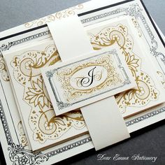 Victorian Elegance Wedding Invitations  Classic Black by dearemma, $2.99 colours able to be customised.