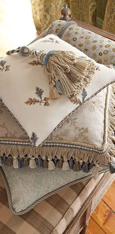 """Stroheim introduces a new collection from Charles Faudree – fabrics, trimmings and wallcoverings to complete a timeless interior. Charles' signature French country design style and philosophy of """"m… French Country Bedrooms, French Country House, French Decor, French Country Decorating, Needlepoint Pillows, Soft Furnishings, Accent Decor, Decorative Pillows, Shabby"""