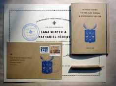 Winter-Hébert Wedding Invitation and Collateral (Signal, Scotch Modern, Figgins Sans)