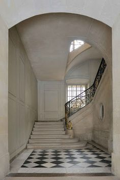 The King's Staircase, which was installed for Louis XV  in 1754 and leads directly up to Madame du Barry's apartments.