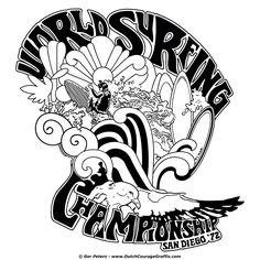 """""""World Surfing Championship - San Diego 1972"""" vintage T-shirt re-creation #vintage #surfing #Tshirt"""