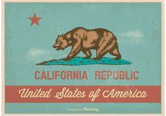 Vintage Style California Flag