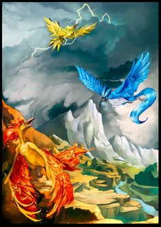 Epic Scene of the Legendary Bird Pokemon: Zapdos, Articuno, and Moltres Entei Pokemon, My Pokemon, Cool Pokemon, Pokemon Pins, Pokemon Legendary Birds, Pokemon Fan Art, Fanart Pokemon, Bd Comics, Pokemon Pictures