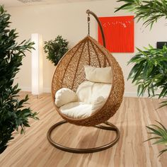 We feel as though this hanging chair is the perfect choice for when you want to create a reading nook or relaxing corner in your home. The plushness of the cushions add an inviting and warm air, but the neutral tones and solid foundation also add a sense of security you need when you just want to clear your head and relax.