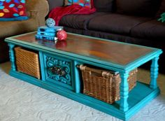 Make The Best of Things: Turquoise Chalk Paint Coffee Table