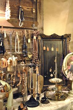 A tour of Whimsy.... - Jennifer Rizzo.  I LOVE using old wood in my jewelry displays!!!  Pinning this idea to use in my vintage flea market booth.