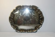 Silverplate Sheridan Chippendale Style Footed Tray, Vintage Dinning and Serving, Wedding