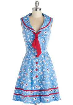 Ladies Who Brunch Dress - Blue, Red, Floral, Buttons, Trim, Tie Neck, Casual, Nautical, A-line, Sleeveless, Better, Collared, Cotton, Woven,...