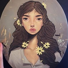 """Black Eyed Susan"" - Kelsey Beckett, acrylic on canvas, 2015 {contemporary illustration beautiful female head woman face portrait painting} kelseybeckett.tumblr.com"