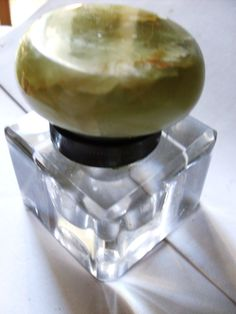 Vintage Alabaster Lid and Crystal Inkwell by SuzsCollectibles