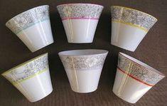 6 tasse Kfé fleurs