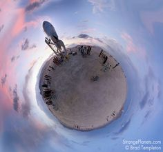 Burning Man Photos as 'Strange Planet' Spherical Projections