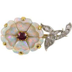 Edwardian Opal Flower Brooch - Primavera Gallery NY ❤ liked on Polyvore