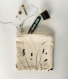 Handmade Screen Printed Lavender Pouch  Handmade by dashanddart