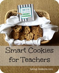 Smart Cookie Snacks for Teachers - with printables for students and teachers!  Back to school treats.  #school #teacher #printable