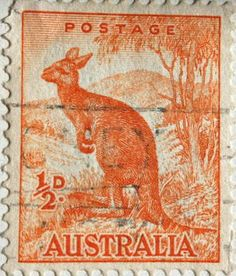 Australian Postage Stamp of kangaroo, value halfpenny Australia Kangaroo, Vintage Stamps, Rare Stamps, Visit Australia, Australia Travel, Stamp Collecting, Mail Art, Travel Posters, History