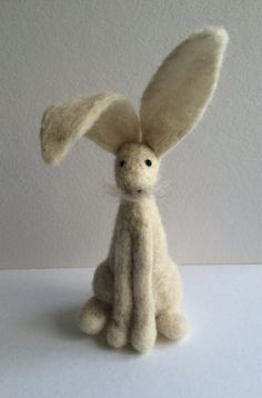 Cream hare needle felt kit starter kit by FeltHoppy on Etsy