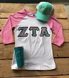 Lily Pulitzer Inspired  Greek Sorority Monogram ZTA\Zeta Tau Alpha Baseball  Jersey T Shirt by HeyYallandCo on Etsy