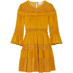 Cinq a Sept - Octavia Ruffled Paneled Lace And Silk-satin Mini Dress found on Polyvore featuring dresses, saffron, yellow dress, keyhole dress, yellow mini dress, ruffle dress and short yellow dress