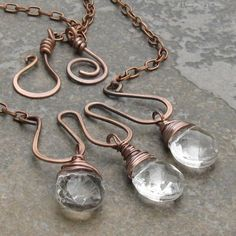 Briolette Trio Metalwork Necklace Antiqued Copper by DesignsbyCher, $42.00