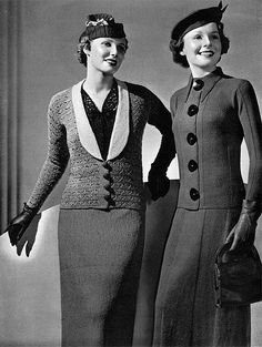 1930s knit suits  (via http://chatterblossom.blogspot.com/)